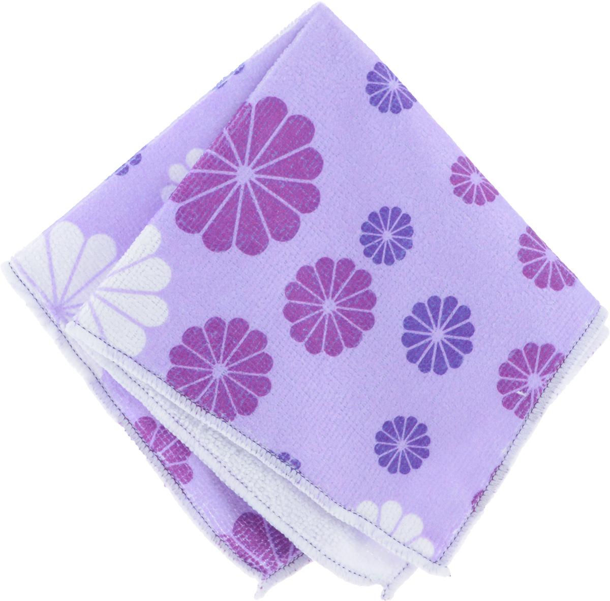 Салфетка универсальная Хозяюшка Мила Вальс цветов, цвет: сиреневый, 30 см х 30 см пакет для запекания хозяюшка мила 30 х 40 см 5 шт