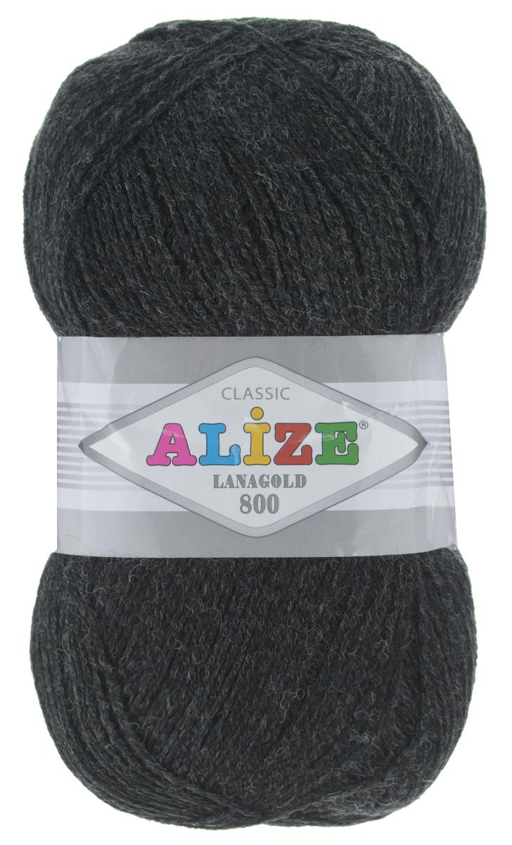 """Пряжа для вязания Alize """"Lanagold 800"""", цвет: черно-серый (151), 800 м, 100 г, 5 шт"""