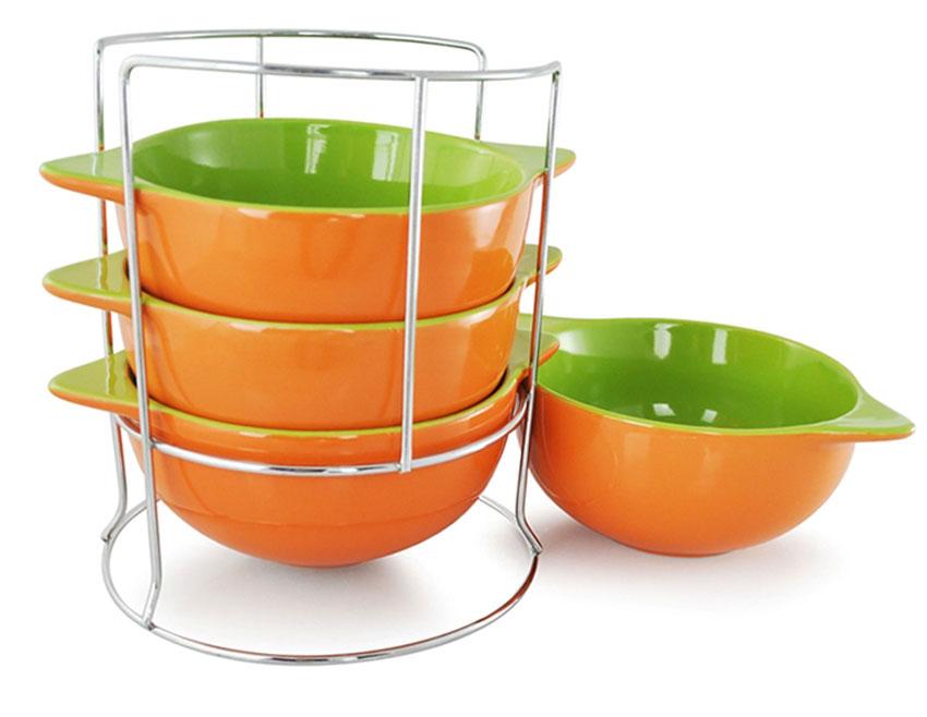 """Набор бульонниц """"Loraine"""", на подставке, цвет: оранжевый, салатовый, 500 мл, 5 предметов. 24236"""