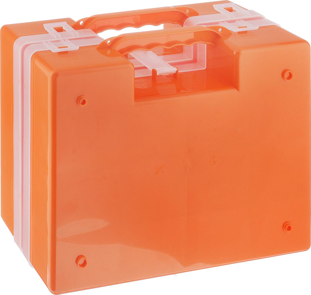 Органайзер Idea, двойной, цвет: оранжевый, 27,2 х 21,7 х 10 см органайзер кухонный idea цвет салатовый 19 х 25 х 14 5 см