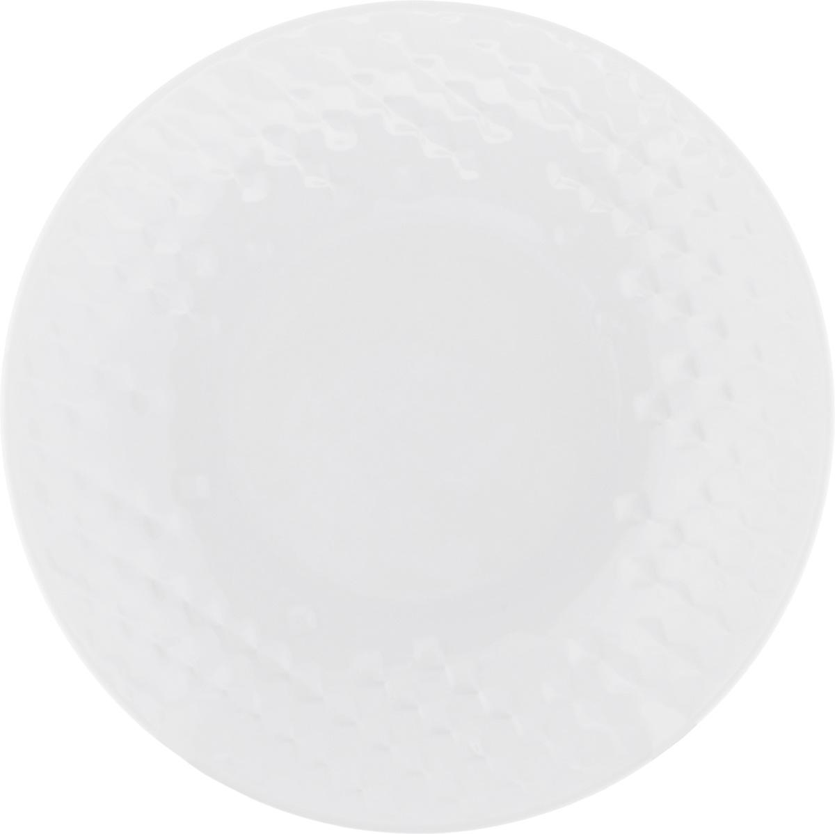 "Тарелка суповая Walmer ""Sapphire"", цвет: белый, диаметр 21 см"