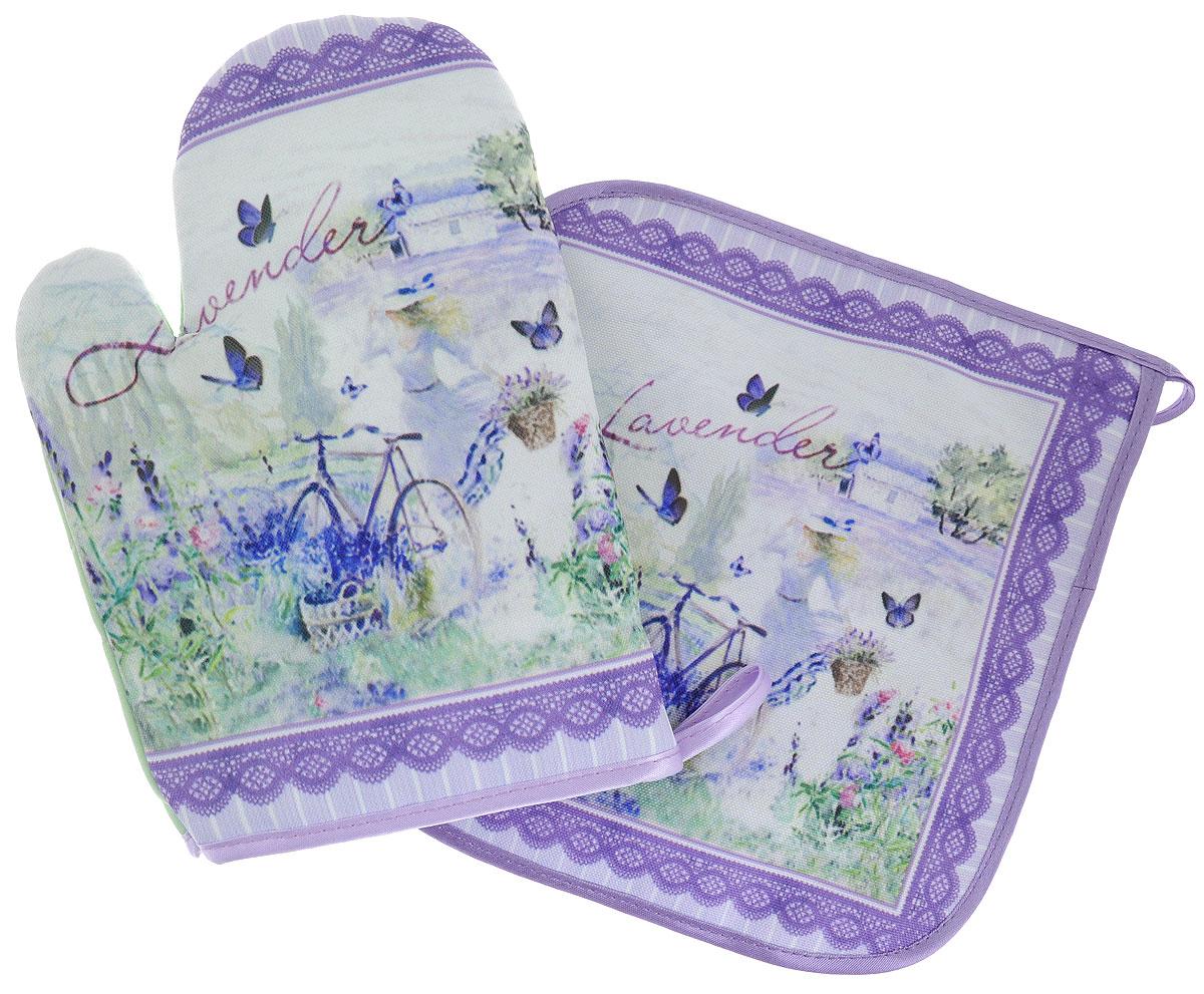 Набор для кухни Gift'n'Home Лаванда, цвет: фиолетовый, зеленый, 2 предмета рукавицы русский инструмент 68130 х б с брезентовым наладонником 2 размер