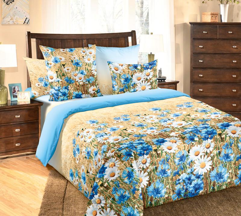Фото - Комплект белья Белиссимо Васильки 1, евро 1, наволочки 70х70, цвет: голубой, васильковый, коричневый комплект постельного белья белиссимо гармония