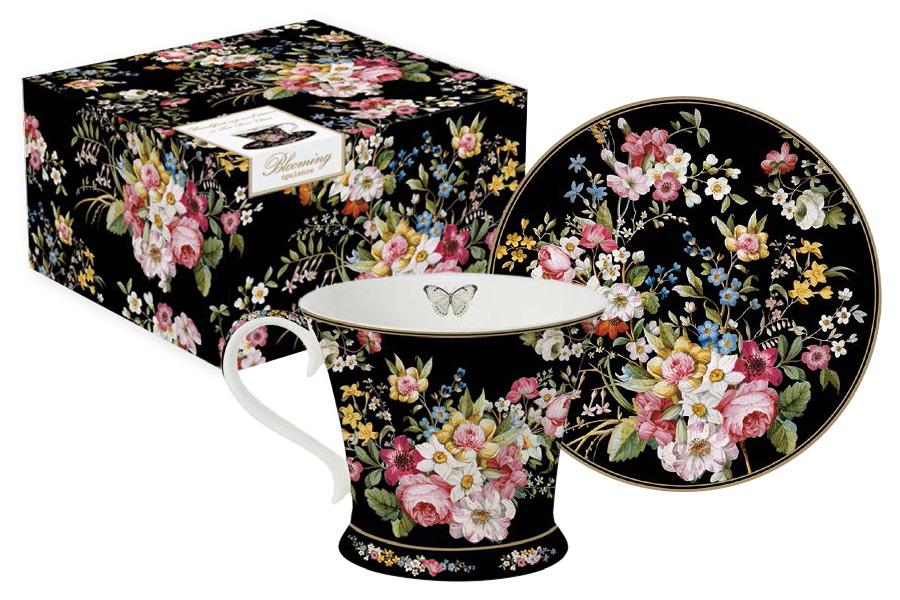 Чайная пара Nuova R2S Цветочный карнавал, цвет: черный, розовый, зеленый, 2 предмета блюдо nuova r2s спагетти диаметр 30 см