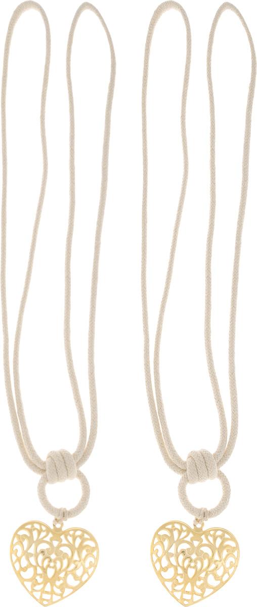 Подхват для штор Wehome Ажурное сердце, цвет: золотистый, длина 72 см, 2 шт аксессуар для штор томдом подхват коса темно малиновый