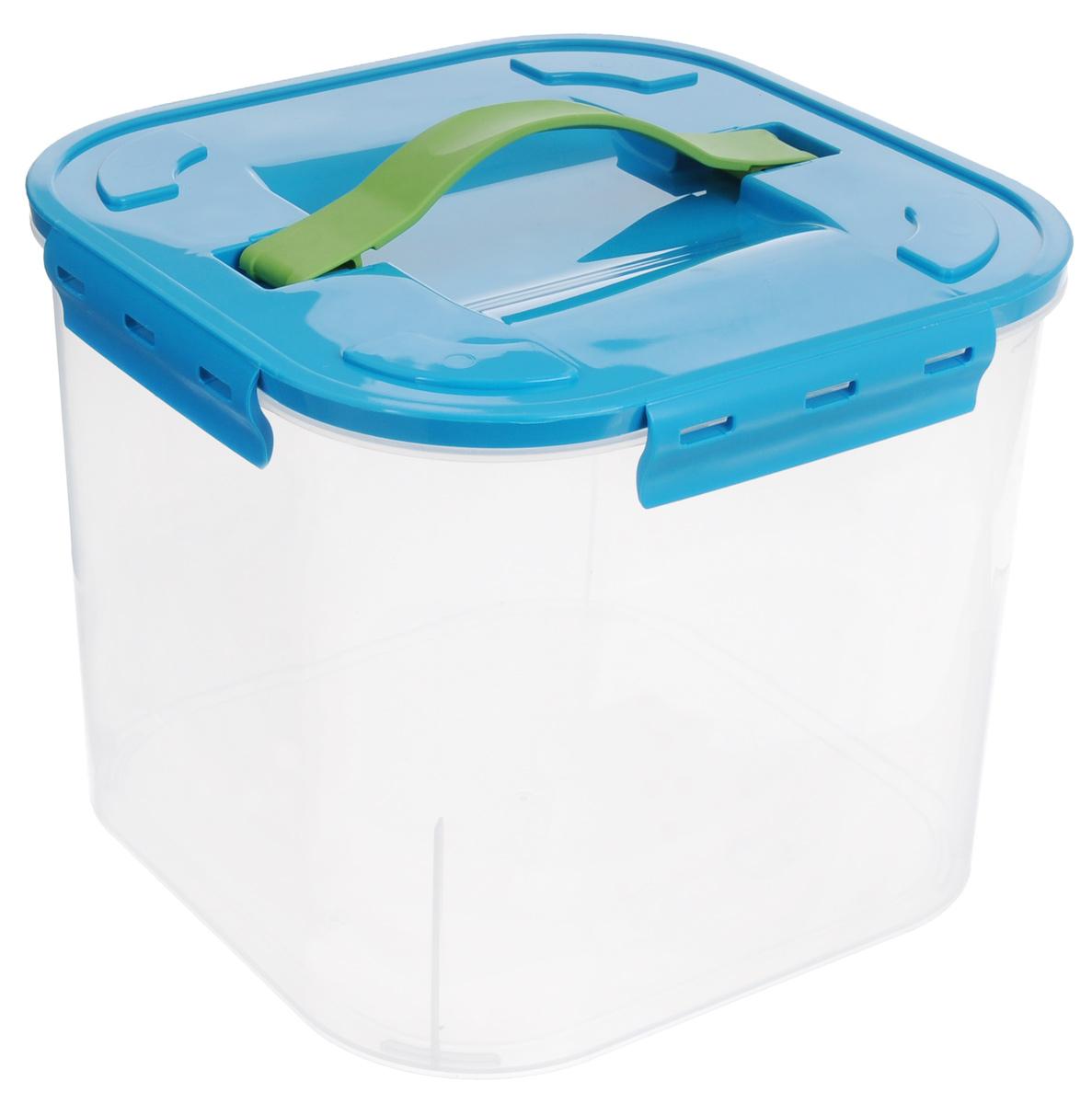 Контейнер для хранения Idea, цвет: бирюзовый, прозрачный, 7 л контейнер для мусора idea цвет бирюзовый салатовый 1 6 л