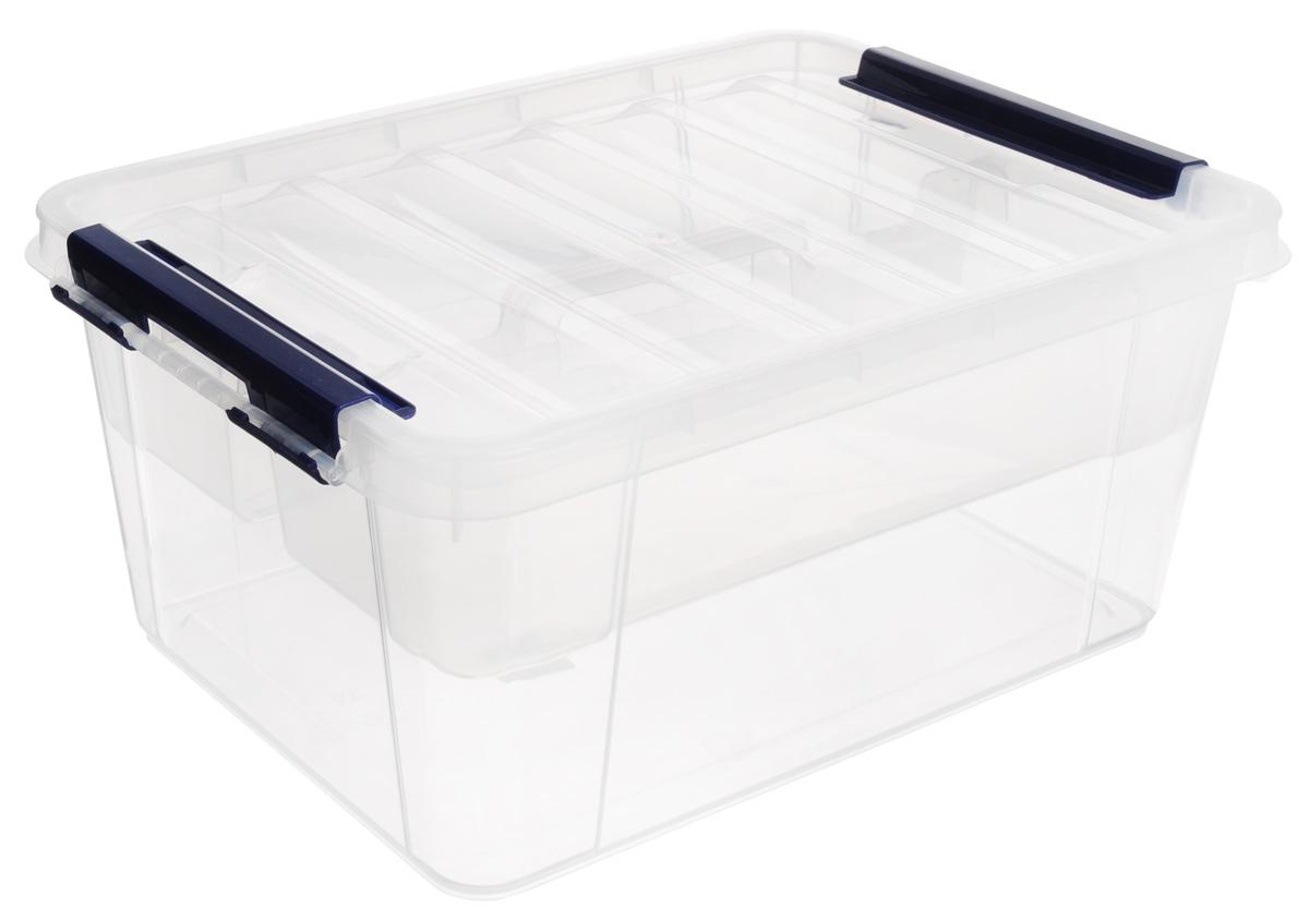 Ящик Полимербыт Профи, с вкладышем, цвет: прозрачный, синий, 15 л аптечка полимербыт 6 5 л с вкладышем