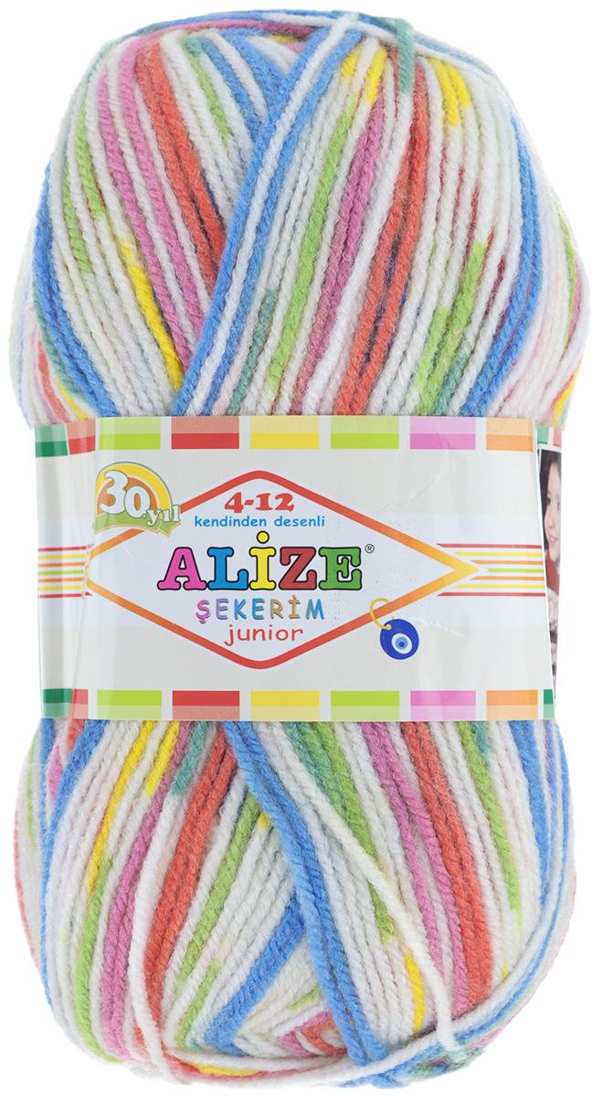 Пряжа для вязания Alize Sekerim Junior, цвет: белый, розовый, желтый, зеленый (808), 330 м, 100 г, 5 шт цена