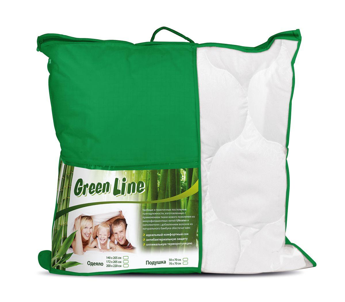 Подушка Verossa Green Line, наполнитель: бамбуковое волокно, 70 х 70 см подушка green line лен наполнитель льняное волокно 70 х 70 см