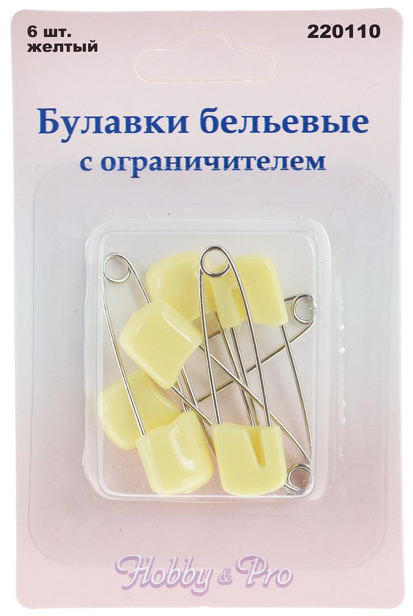 Булавки бельевые Hobby&Pro, цвет: желтый, стальной, длина 4 см, 6 шт булавки бельевые hobby