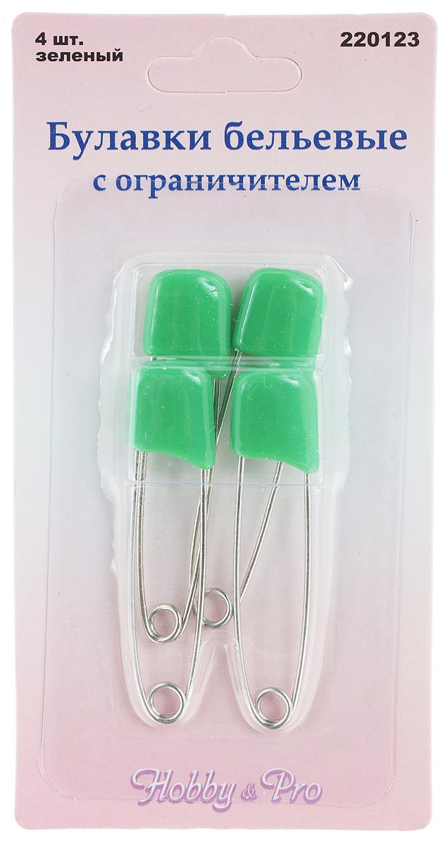 Булавки бельевые Hobby&Pro, с ограничителем, цвет: зеленый, стальной, длина 5,2 см, 4 шт булавки бельевые hobby