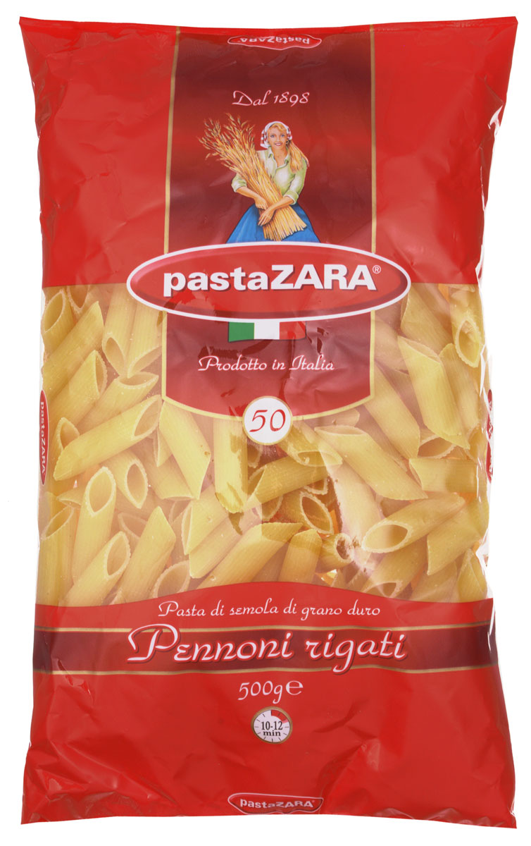 Pasta Zara Перо большое рифленое макароны, 500 г pasta zara звездочки макароны 500 г