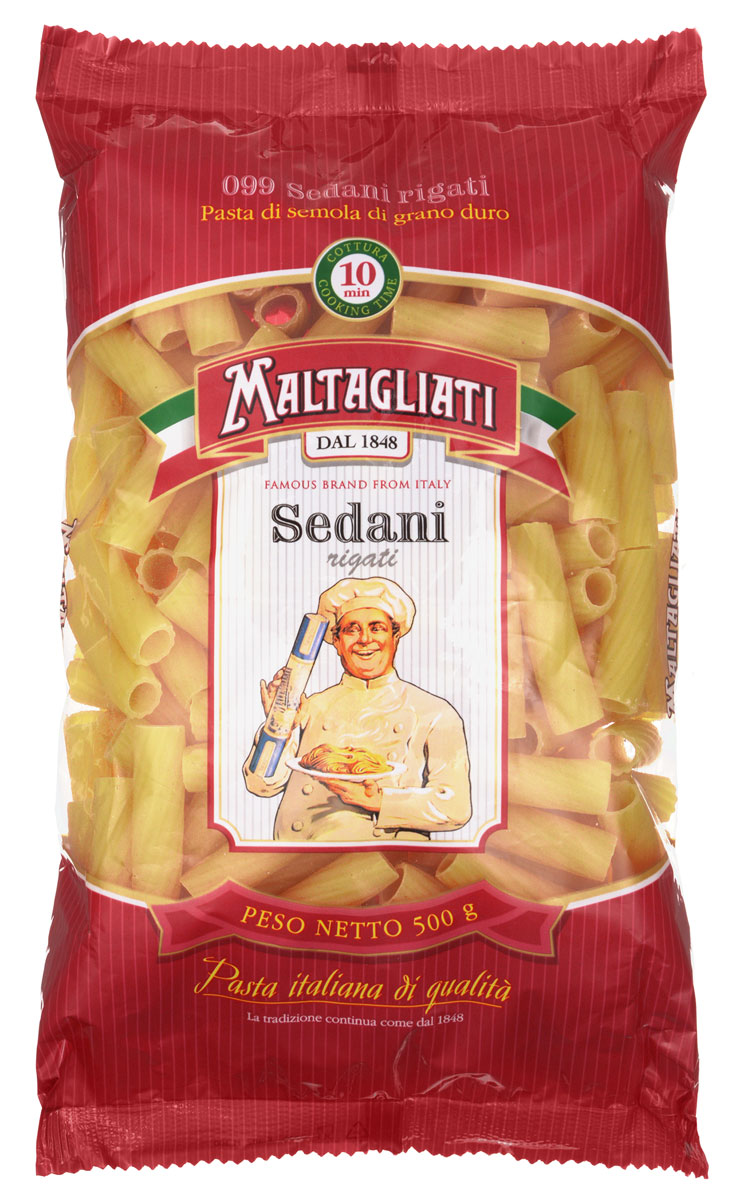Maltagliati Sedani rigati Труба прямая макароны, 500 г