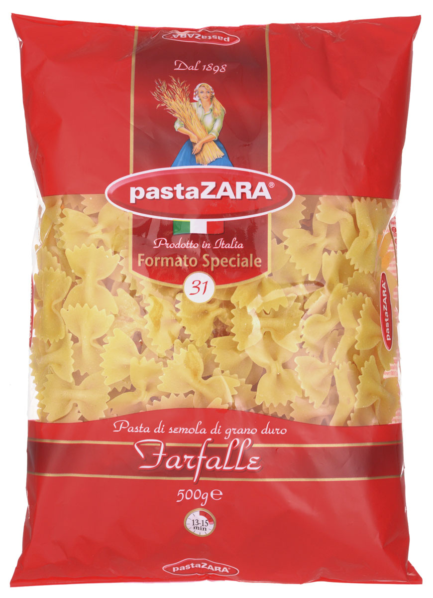 Pasta Zara Бабочки макароны, 500 г pasta zara звездочки макароны 500 г