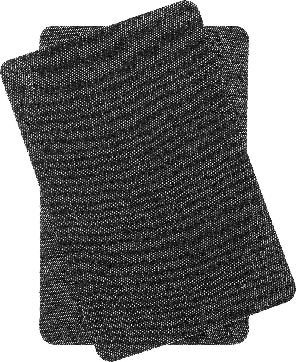 Термозаплатки джинсовые Hobby&Pro, цвет: черный, 2 шт крючки и петли для одежды hobby