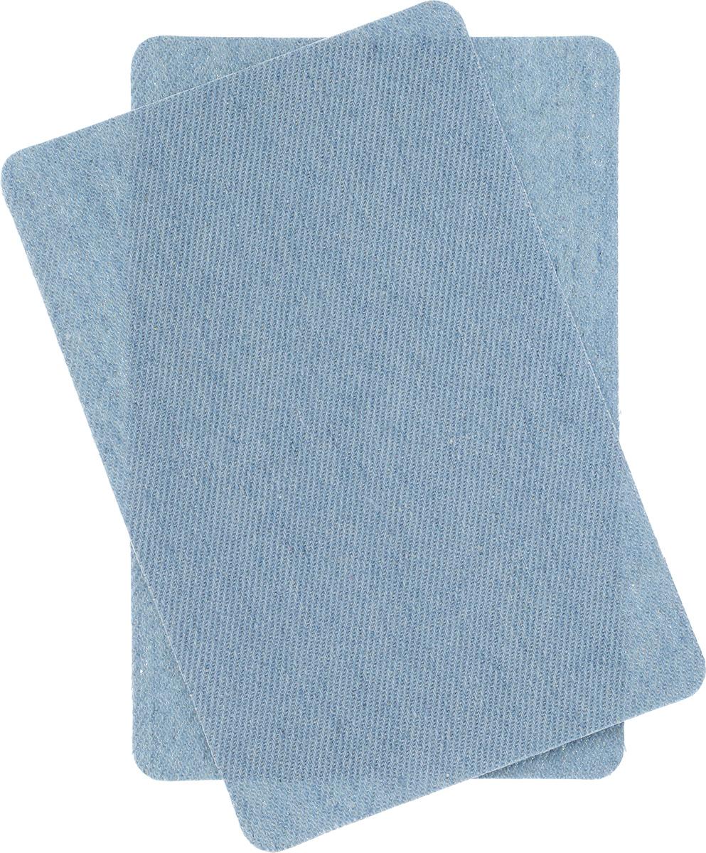 Термозаплатки джинсовые Hobby&Pro, цвет: голубой, 2 шт крючки и петли для одежды hobby