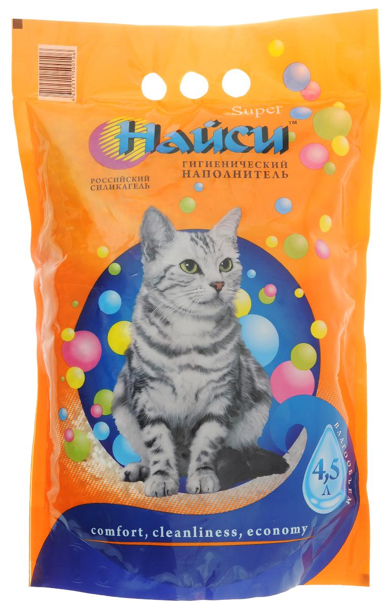 Наполнитель для кошачьего туалета Найси Super, силикагелевый, 4,5 л опилки для животных найси 15 л
