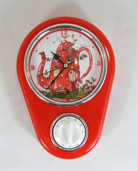 """Кухонные настенные часы """"Сказочный чайник"""" арт.37383 (16*5*23см, с таймером без элемента питания) / 16*5*23 арт.37383"""