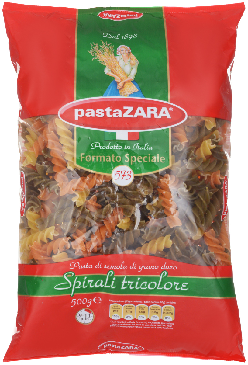 Pasta Zara Спираль трехцветная макароны, 500 г pasta zara звездочки макароны 500 г
