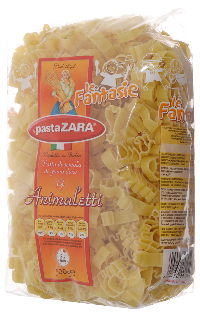 Pasta Zara Фантазия Зверьки макароны, 500 г
