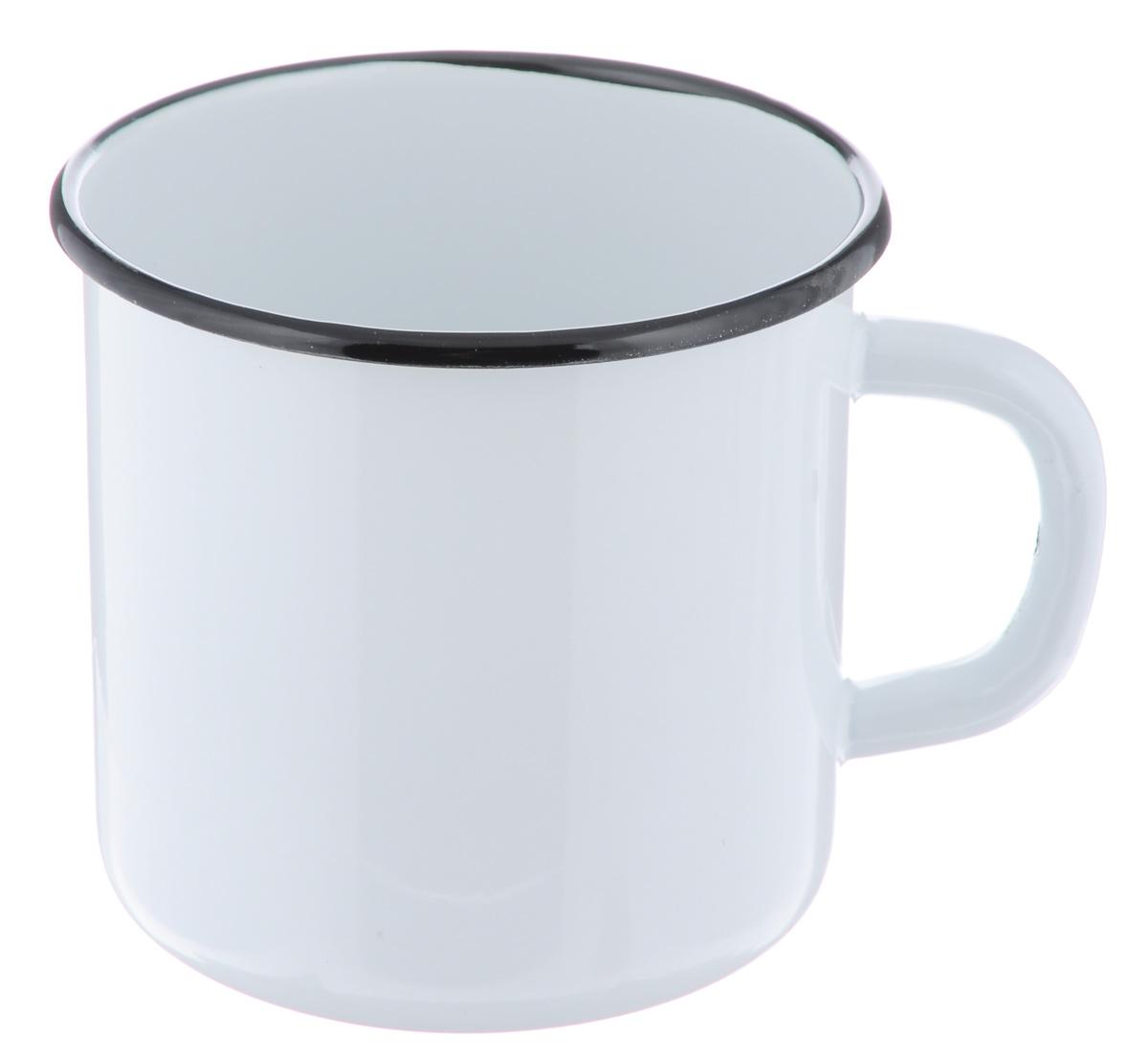 Кружка эмалированная СтальЭмаль, цвет: белый, 1 л кружка эмалированная стальэмаль клубника 1 л