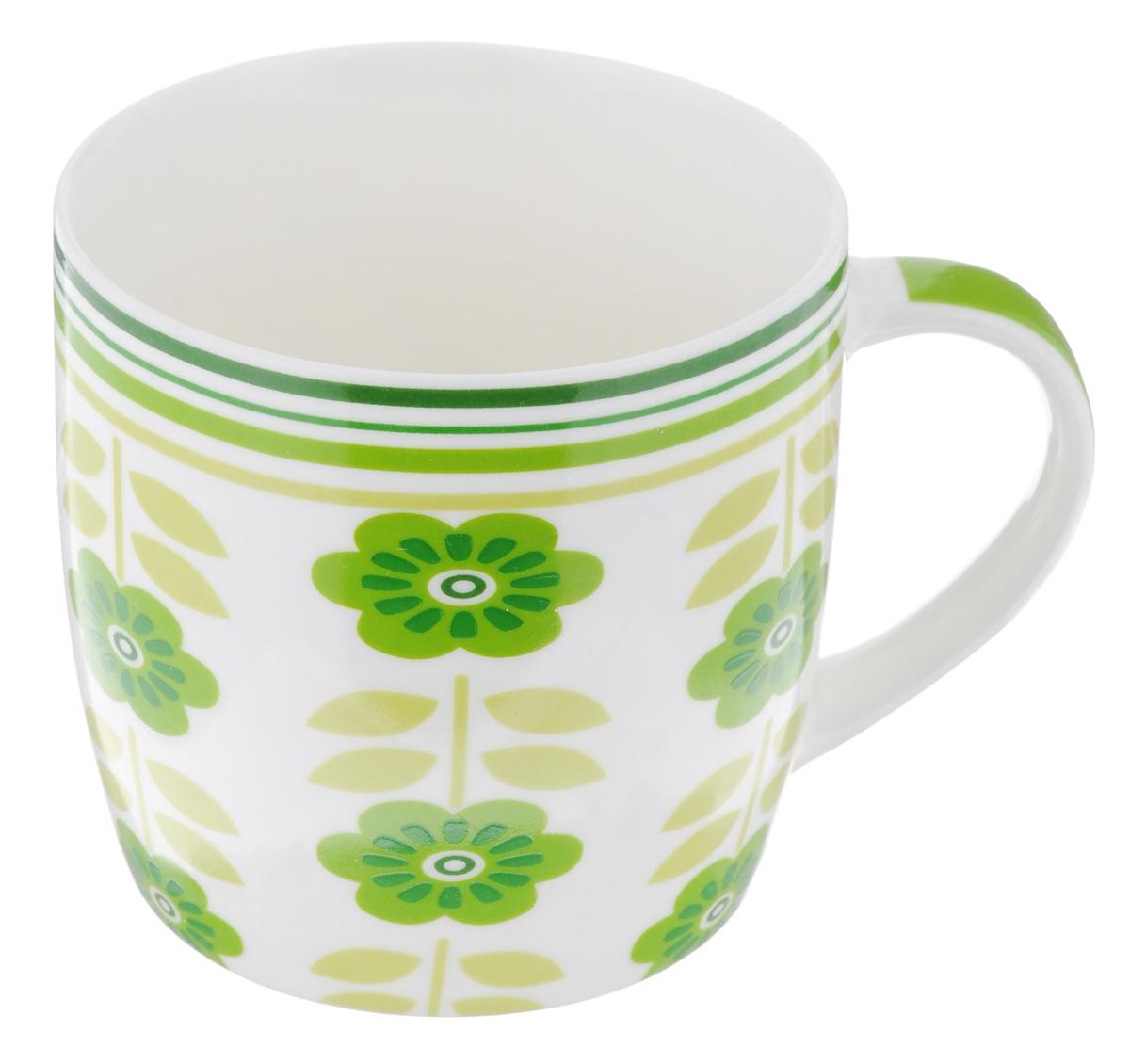 Кружка Loraine Цветы, цвет: белый, зеленый, 320 мл кружка loraine цвет белый красный голубой 320 мл 24484