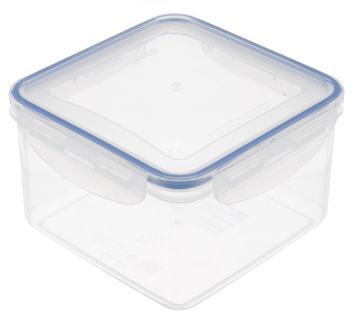 Контейнер Good&Good, цвет: прозрачный, синий, 1,25 л контейнер dunya plastik корабль цвет прозрачный синий 9 л