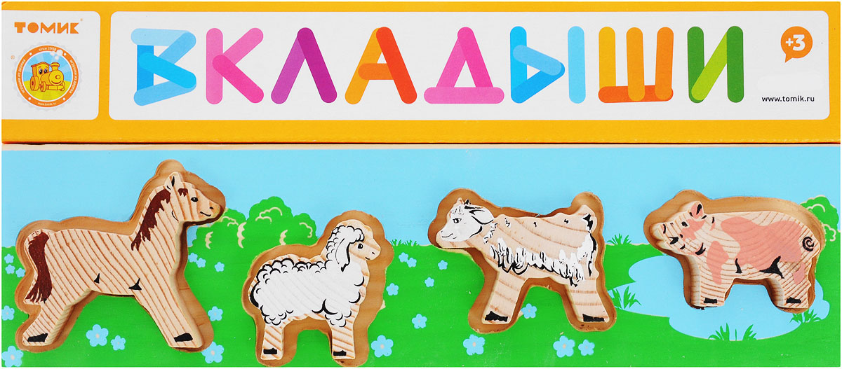 Пазл для малышей Томик Доска-вкладыш Домашние животные Лужок кубики томик домашние животные