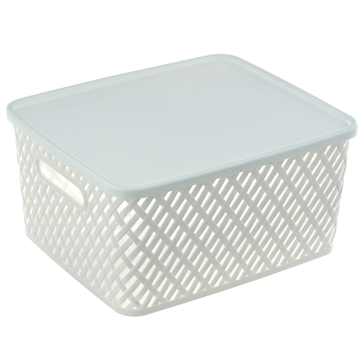 Корзина Альтернатива Плетенка, с крышкой, цвет: белый, 35 см х 29 см х 17,5 см ершик для туалета альтернатива плетенка белый