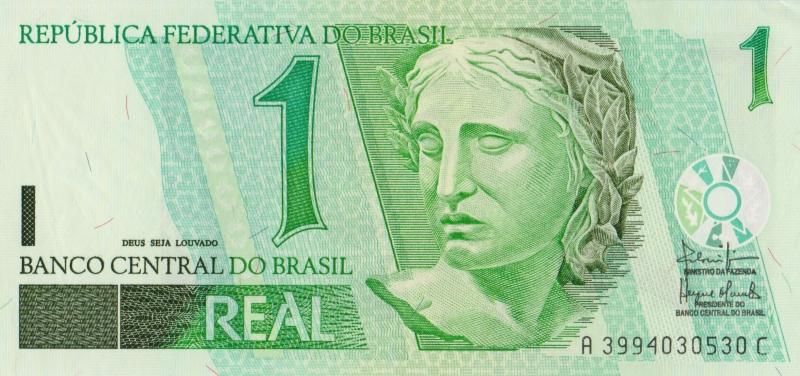 Банкнота номиналом 1 реал. Бразилия. 2003 год банкнота номиналом 1 крузейро подпись тип 2 бразилия 1954 1958 года