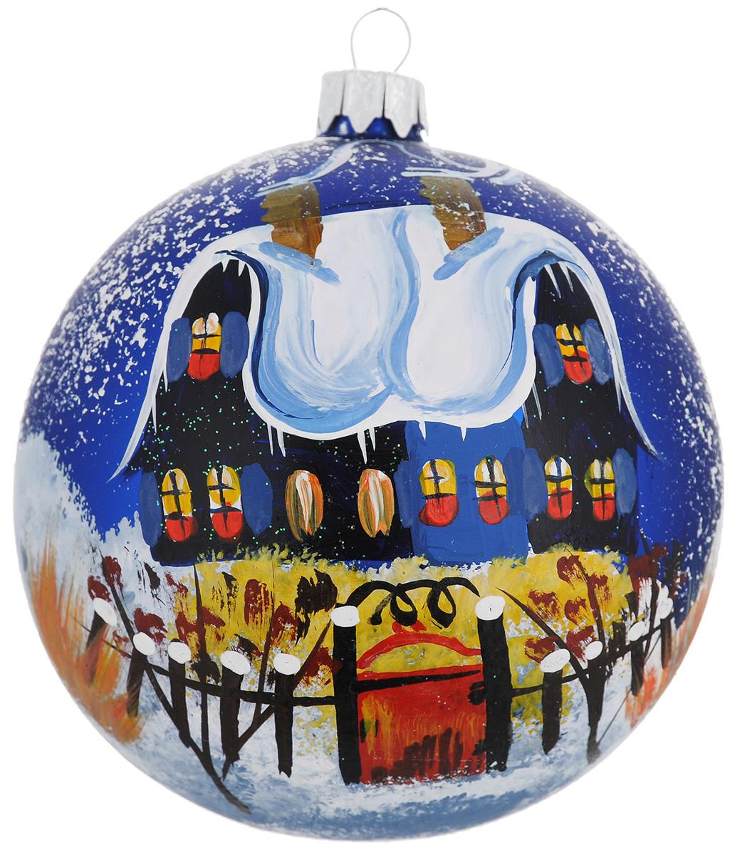 """Новогоднее подвесное украшение """"Синий дом красная калитка"""", диаметр 10 см. Ручная роспись"""