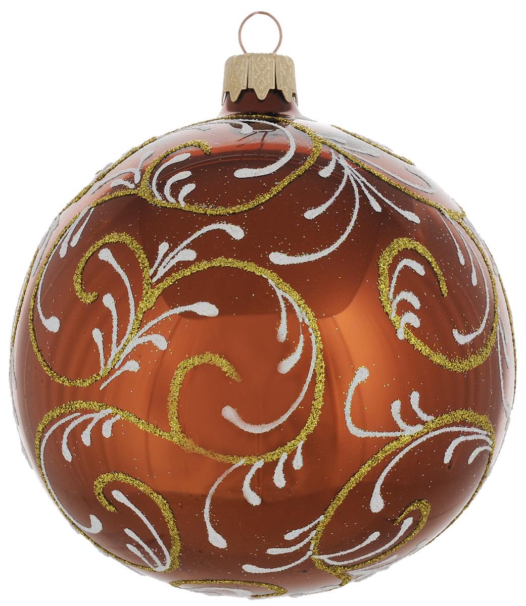 """Новогоднее подвесное украшение """"Узор"""", цвет: коричневый, диаметр 10 см. Ручная роспись"""