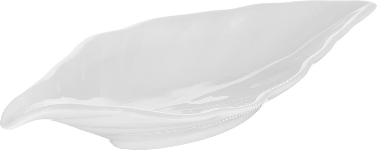 """Блюдо сервировочное Walmer """"Leaf"""", цвет: белый, 18 х 8,5 см"""