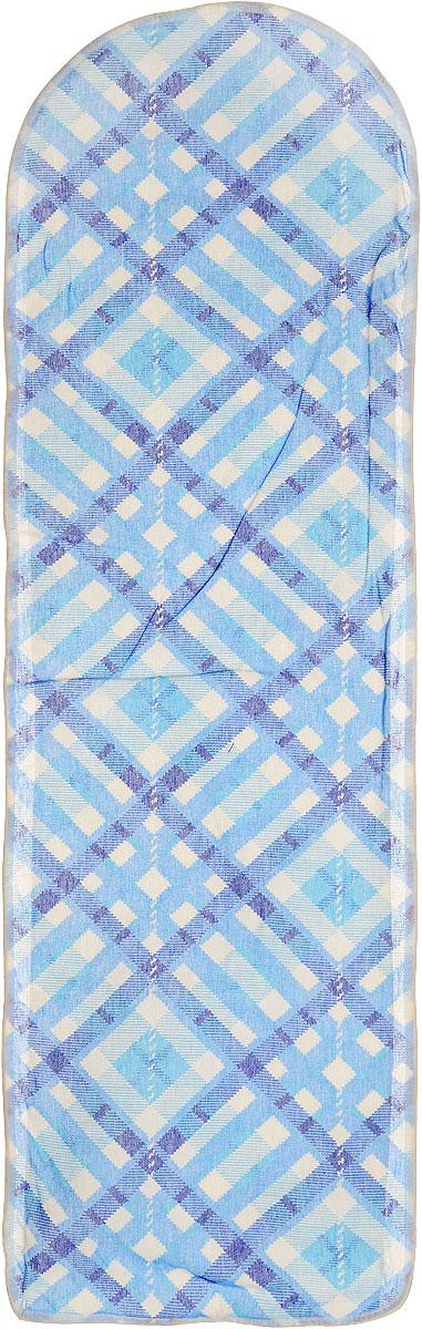 Чехол для гладильной доски Eva, цвет: синий, голубой, белый, 120 х 38 см чехол д гладильной доски ева 125х47см х б