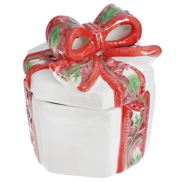 цена на Шкатулка декоративная House & Holder Подарок, цвет: красный, белый, зеленый, 10,5 х 8 х 9 см.
