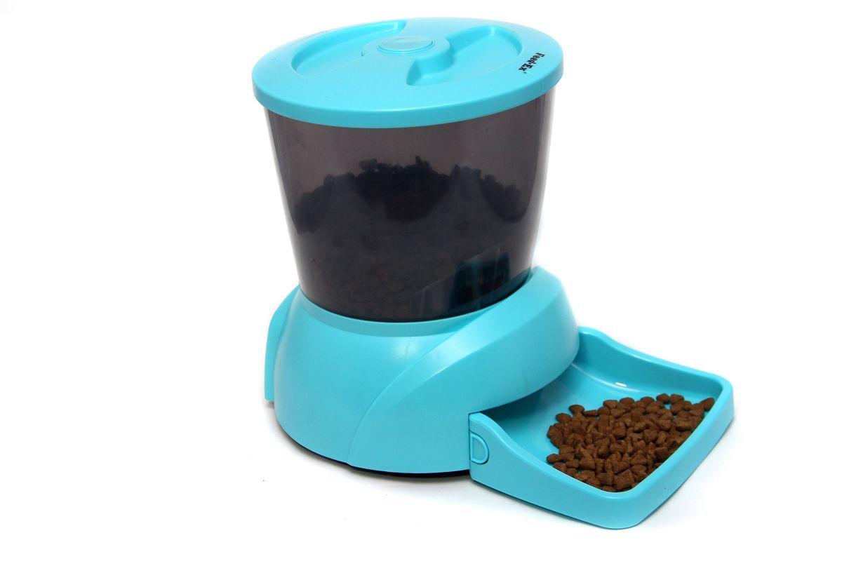 Кормушка автоматическая Feed-Ex для кошек и собак мелких пород, для сухого корма, цвет: голубой, 2-2,5 кг кормушка автоматическая feed ex для сухого корма цвет черный 6 7 кг