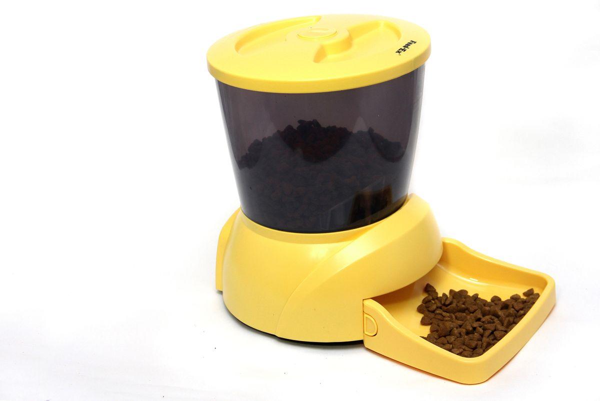 Кормушка автоматическая Feed-Ex, для кошек и собак мелких пород, для сухого корма, цвет: желтый, 2-2,5 кг кормушка автоматическая feed ex для сухого корма цвет черный 6 7 кг