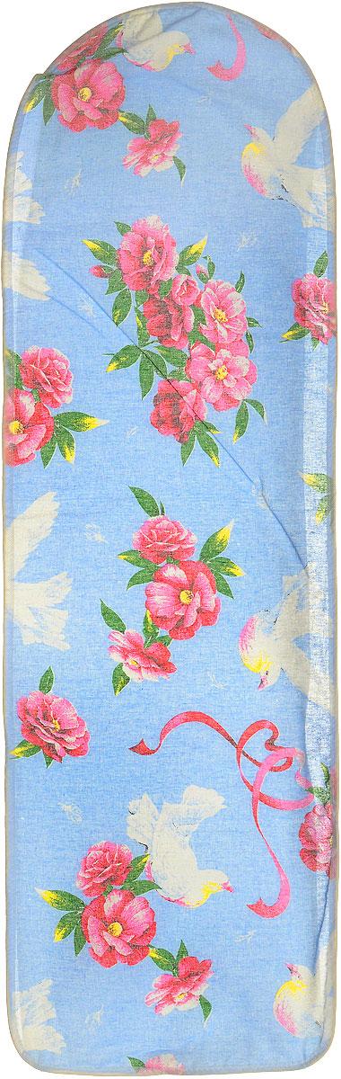 Чехол для гладильной доски Eva, цвет: голубой, белый, розовый, 120 см х 38 см чехол для гладильной доски eva с поролоном цвет бежевый синий бордовый 119 х 37 см