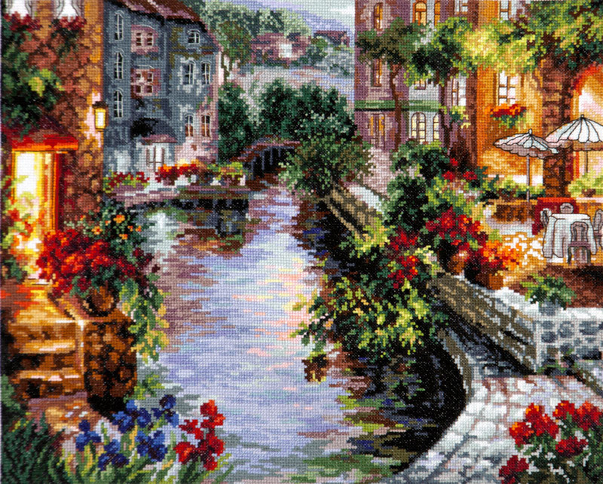 Набор для вышивания крестом Чудесная игла Вечер в Венеции, 40 х 32 см набор для вышивания крестом чудесная игла цветочный чай 35 х 40 см
