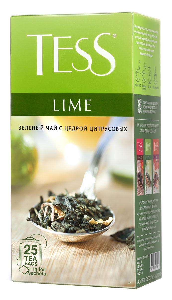 Tess Lime зеленый чай в пакетиках, 25 шт
