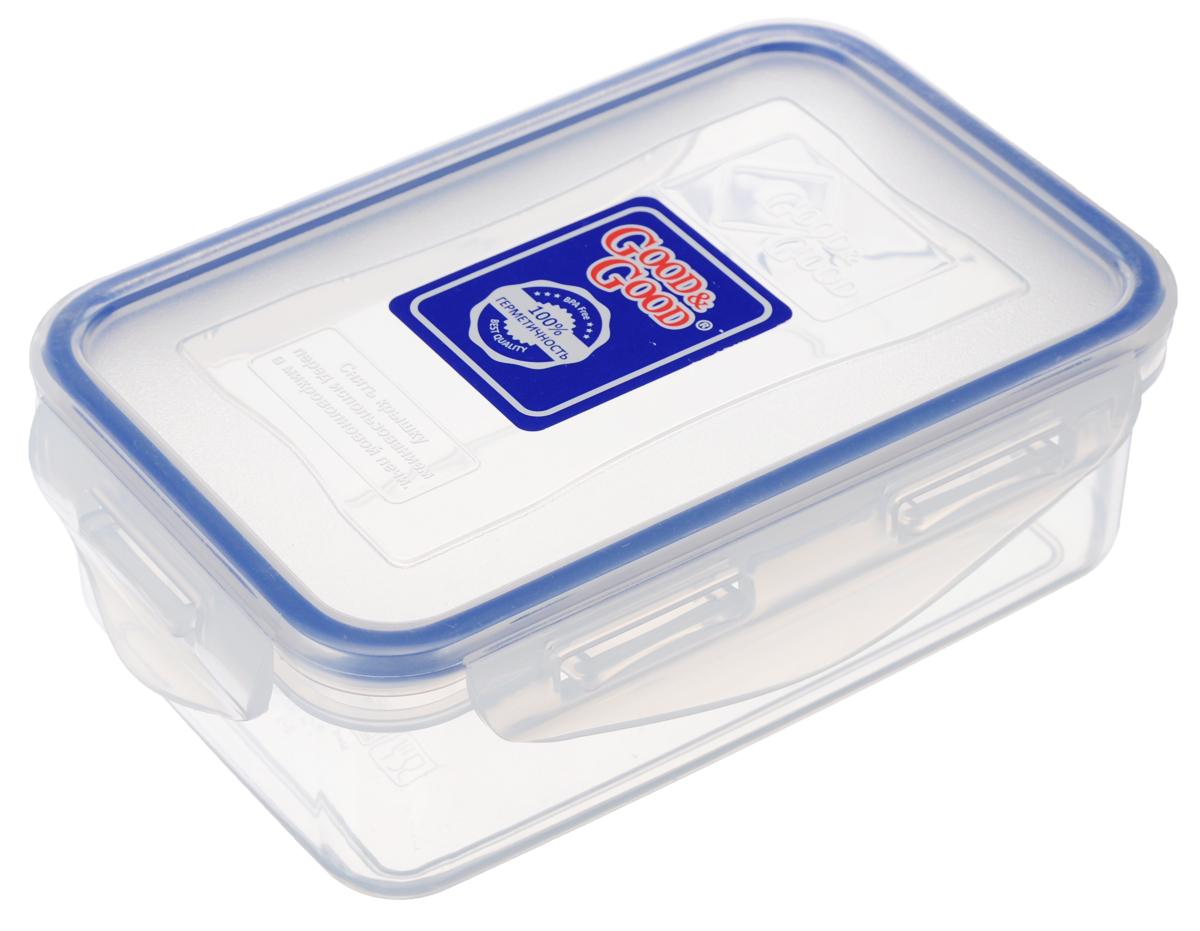 Контейнер пищевой Good&Good, цвет: прозрачный, синий, 500 мл контейнер пищевой good