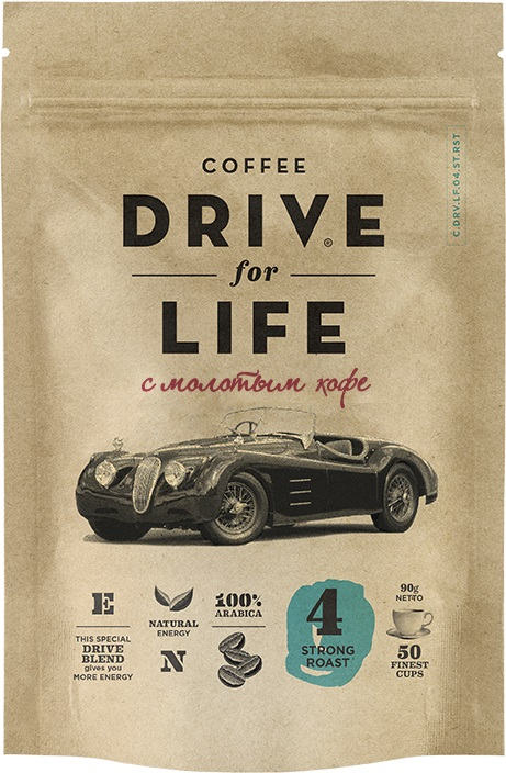 Drive for Life с молотым Strong кофе сублимированный, 90 г drive for life extra strong кофе сублимированный 150 г