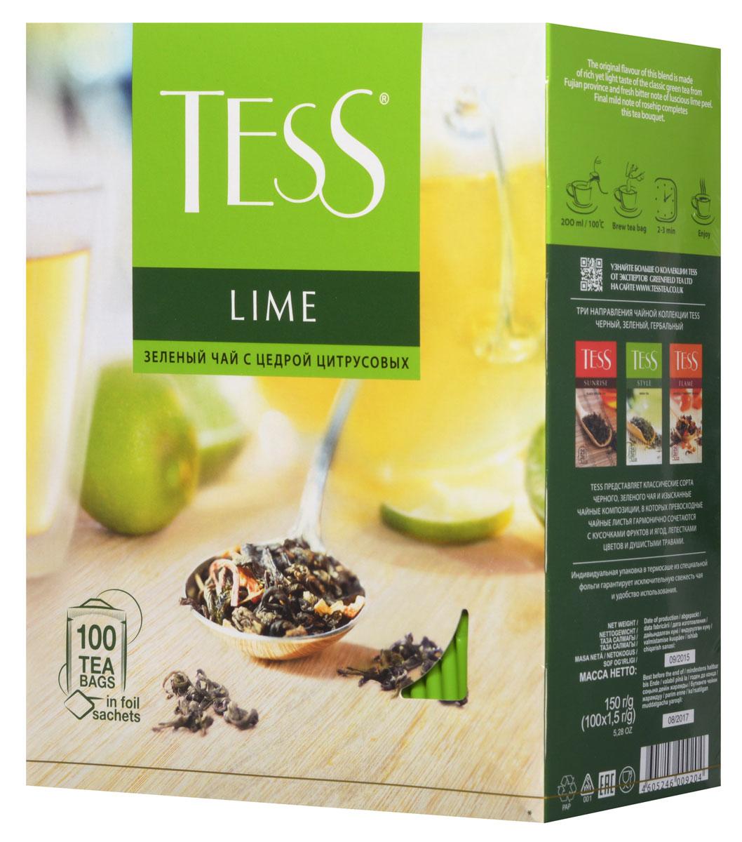Tess Lime зеленый чай в пакетиках, 100 шт