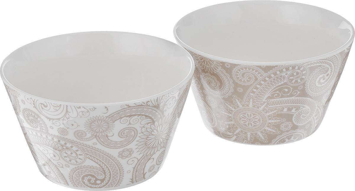 Набор салатников Elan Gallery Узор, цвет: белый, капучино, 2 шт. 25009 соусник elan gallery листок 15 7 5 2 5 см 2 секции