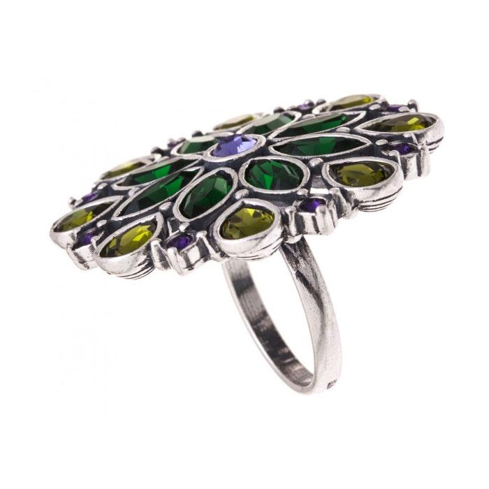 Кольцо Jenavi Мурен, цвет: серебристый, зеленый, фиолетовый, изумрудный. k3193070. Размер 16 кольцо женское jenavi линия судьбы вейя цвет золотой r406p090 размер 16