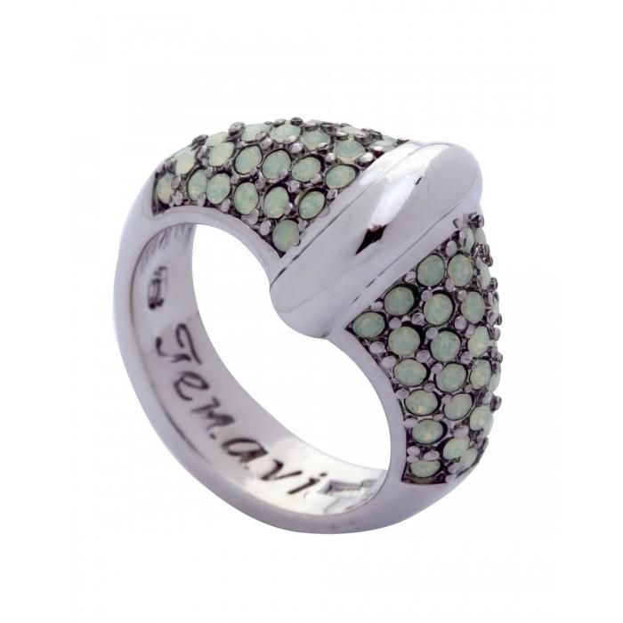 Кольцо Jenavi Фрона, цвет: серебряный, светло-зеленый. j955f003. Размер 18 кольцо женское jenavi линия судьбы вейя цвет золотой r406p090 размер 16