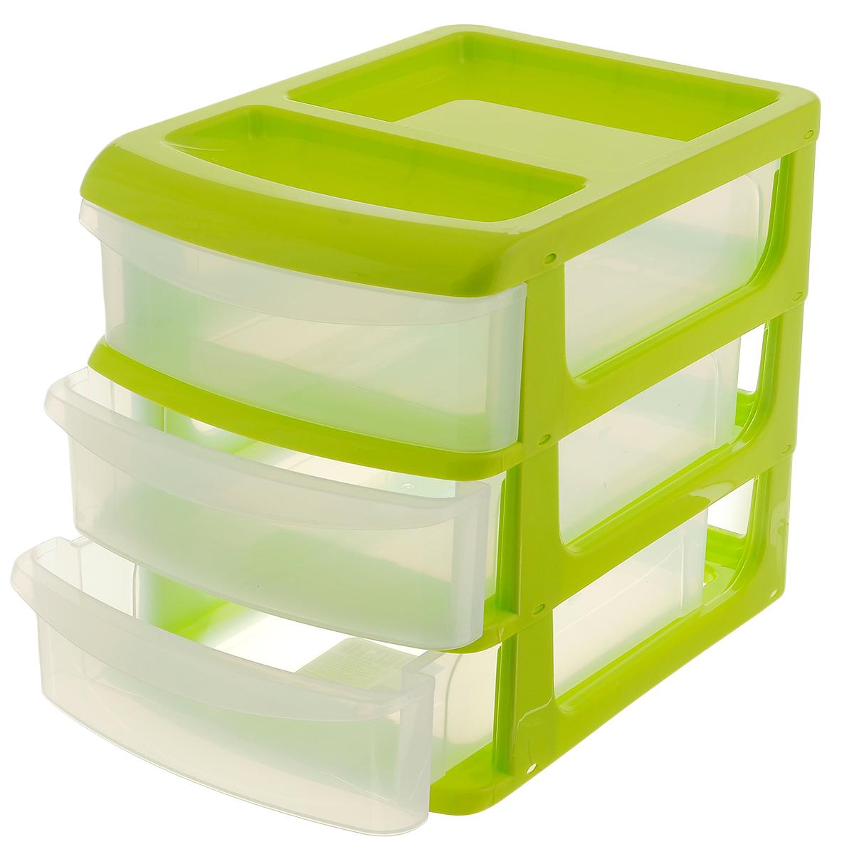 Бокс универсальный Idea, 3 секции, цвет: салатовый, прозрачный, 24,5 х 17,5 х 20 см бокс универсальный idea 3 секции цвет салатовый 20 см х 14 5 см х 18 см