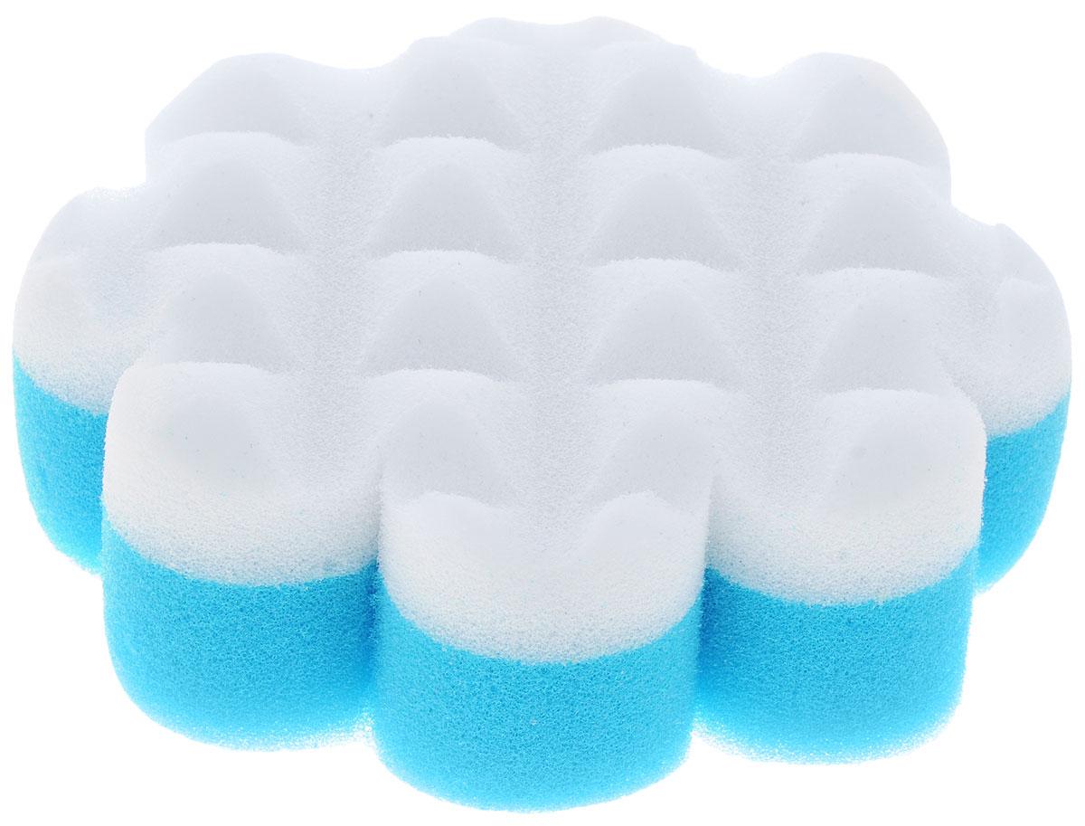 Курносики Мочалка с массажным слоем Цветок цвет голубой белый курносики мочалка с массажным слоем рыбка цвет голубой белый
