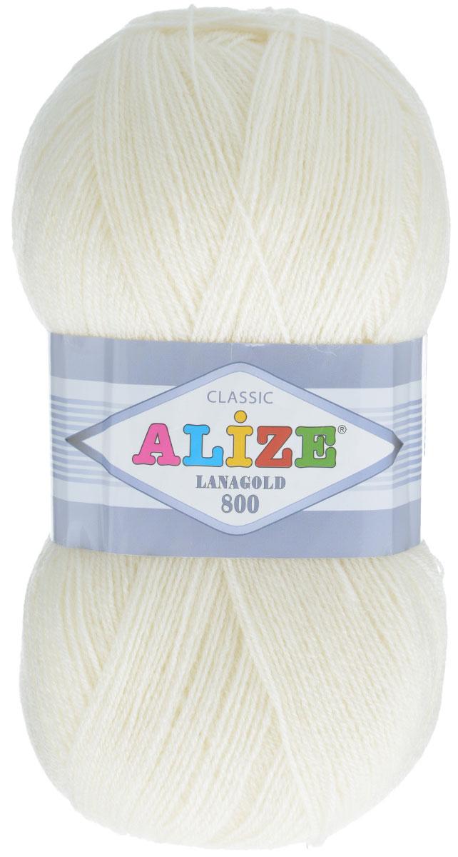 """Пряжа для вязания Alize """"Lanagold 800"""", цвет: молочный (62), 800 м, 100 г, 5 шт"""