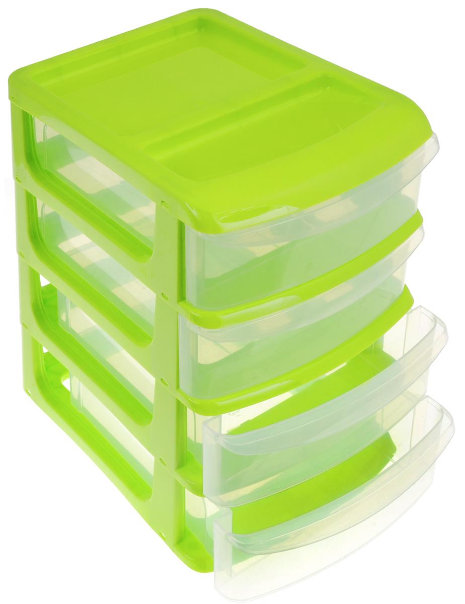 Бокс универсальный Idea, 4 секции, цвет: салатовый, прозрачный, 24 х 17 х 26,5 см бокс универсальный idea 3 секции цвет салатовый 20 см х 14 5 см х 18 см